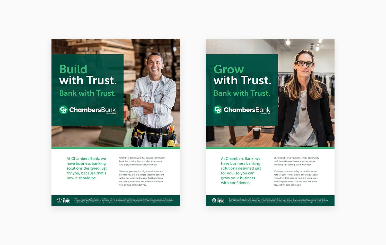 Apart Design Bank.Chambers Bank Brand Identity Advertising Print Design Adair Creative